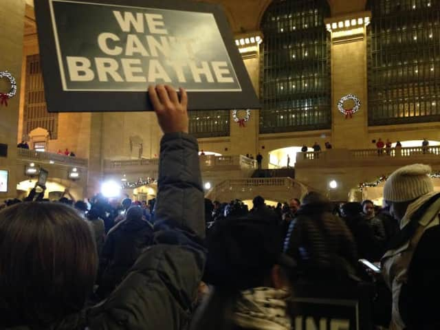 Councilman Darren Rigger attended a protest at Grand Central Terminal