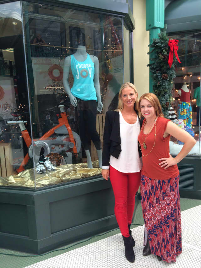Mackenzie Pretty, left, and Melissa Joan Hart, right, in front of  JoyRide in Westport.