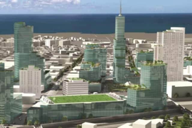 An architect's rendering of the future downtown New Rochelle.