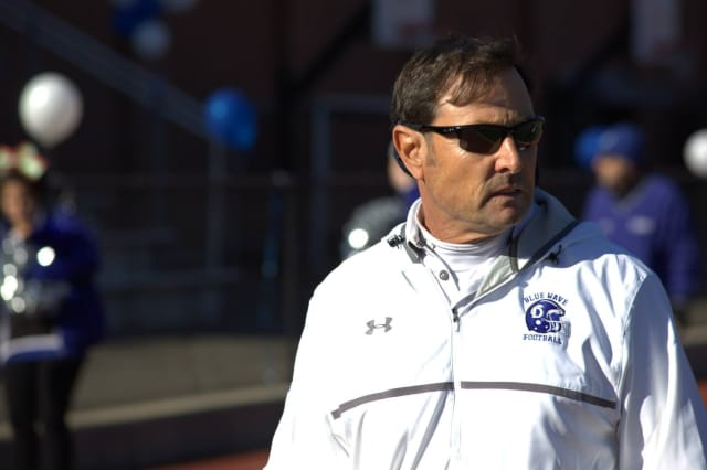 Darien High School football coach Rob Trifone
