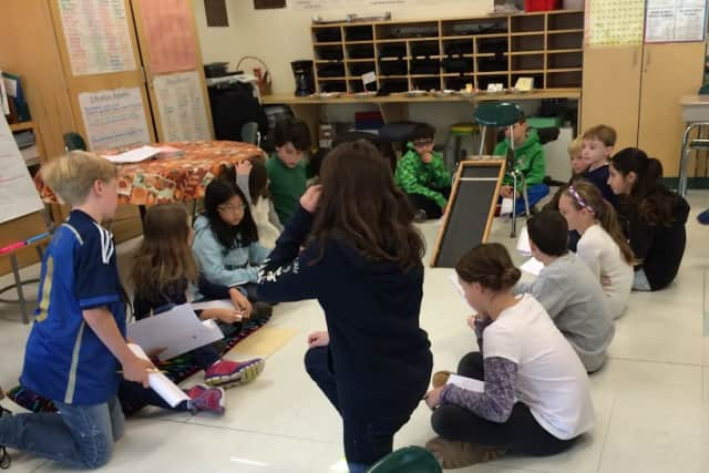 Fifth-grade students at Todd Elementary School in Briarcliff Manor worked together to design and build vehicles that rolled as part of an engineering lesson.