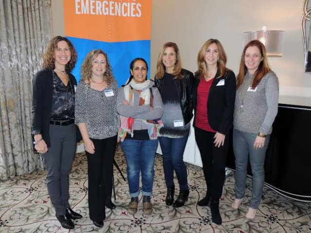 From left, Lois Kohn-Claar of Scarsdale, Wendy Zoland of Mamaroneck, chef Einat Admony, Jill Weisfeld of Scarsdale, Michele Budoff of Goldens Bridge, and Leslie Goldberg of Rye Brook.