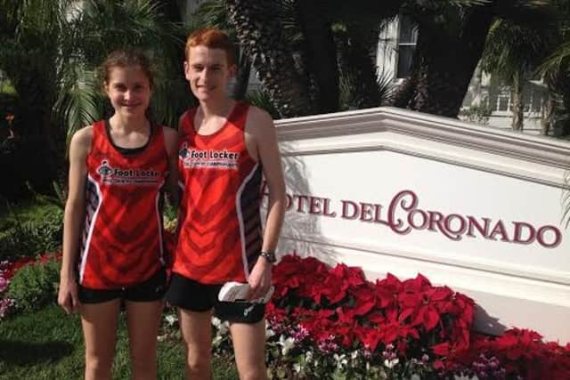 Darien's Alex Ostberg, right, finished ninth Saturday at the Foot Locker national cross country championships in San Diego.