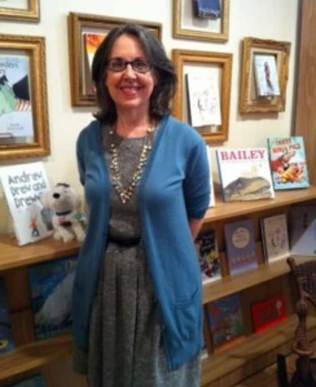 Francine Lucidon in her Larchmont bookstore, The Voracious Reader