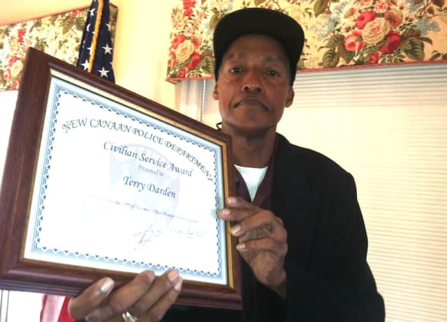 Terry Darden with his Civilian Service Award.