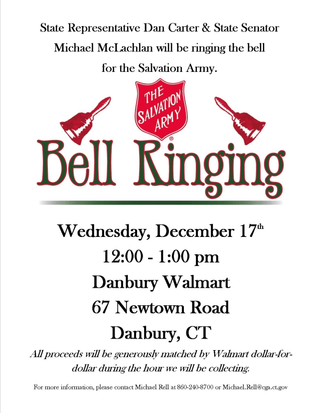 State Representative Dan Carter and Senator Michael McLachlan will be ringing the bell for the Salvation Army on Dec. 17.