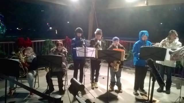 Briarcliff Middle School band students entertained guests at the Village of Briarcliff Manor's annual Holiday Sing-Along at Law Memorial Park.