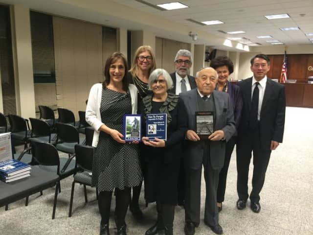 Left to right: Kevin Plunkett deputy county executive; keynote speaker Dr. Moshe Avital and his wife, Anita; Michael Kaplowitz, Chairman of the Board, Westchester Legislators; and Mark Fang, Executive Director Westchester Human Rights Commission.