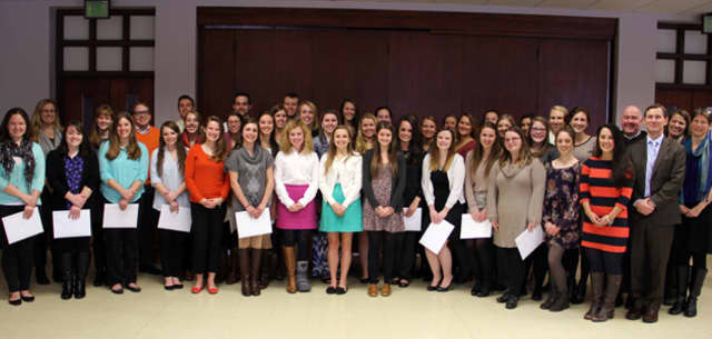 40 Saint Anselm College students including Jolie Poirier of Wilton were indicted into the  Kappa Delta Pi International Honor Society in Education on Dec. 6