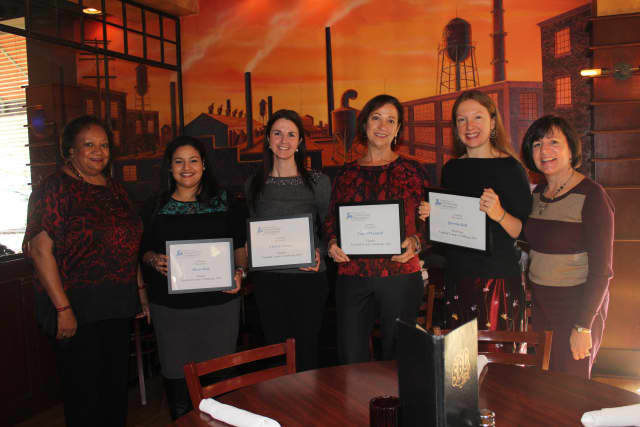 Juanita James, president and chief executive officer of FCCF; Alison Riith, top winner; Chrissy Cacace, finalist; Carol O'Connell finalist; Quentin Ball, most-votes winner; and Nancy von Euler, FCCF program director.