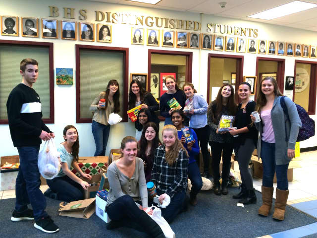 Briarcliff High School Food for Friends members collected 406 pounds of donations for the Food Bank for Westchester.