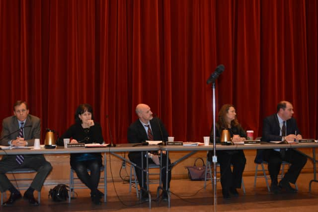 The New Castle Town Board at its Dec. 18 meeting, when it voted to approve retail zoning for Chappaqua Crossing.
