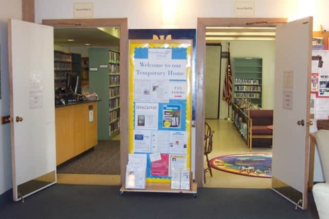 The Lewisboro Library's temporary location is at a nearby church in South Salem.