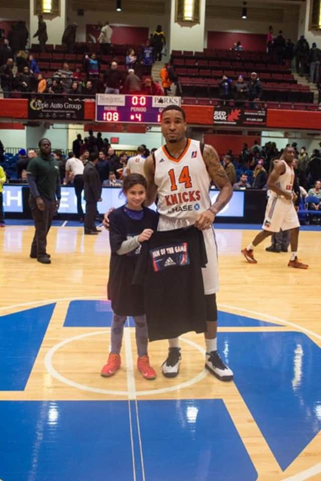 Jordan Roskind from Harrison was named Westchester Knicks adidas Fan of the Game, with Markeith Cummings the Player of the Game.