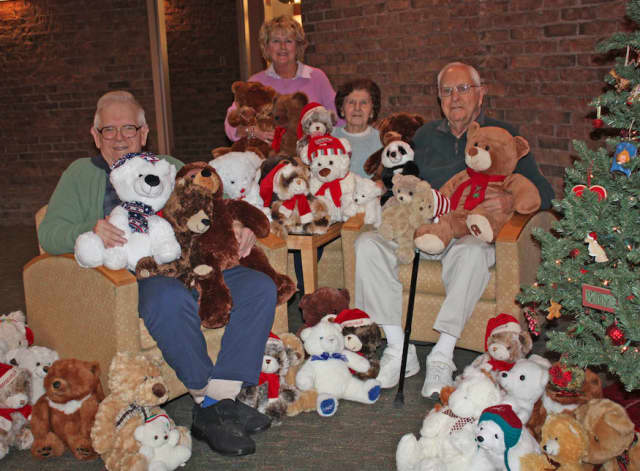 """There's so much love and warmth in the hug of a teddy bear,"" said Waveny volunteer, Marilyn Gifford, who hand-picked and donated more than 100 teddy bears to all of Waveny Care Center's patients and residents for the holiday season."