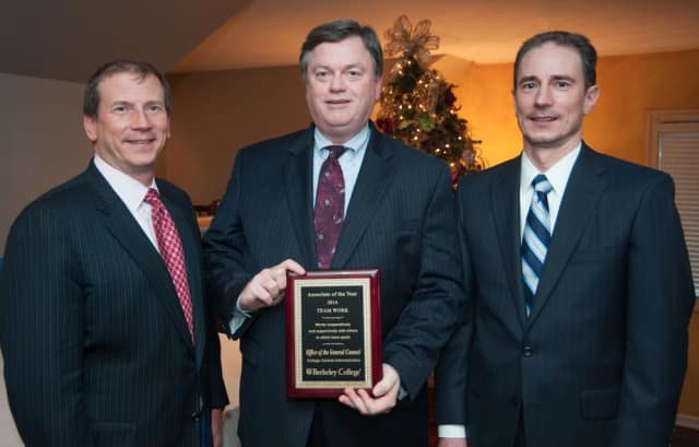 From left, Kevin L. Luing, chairman, Berkeley College Board of Trustees; William Brandt; and Randy B. Luing, vice chairman, Berkeley College Board of Trustees.