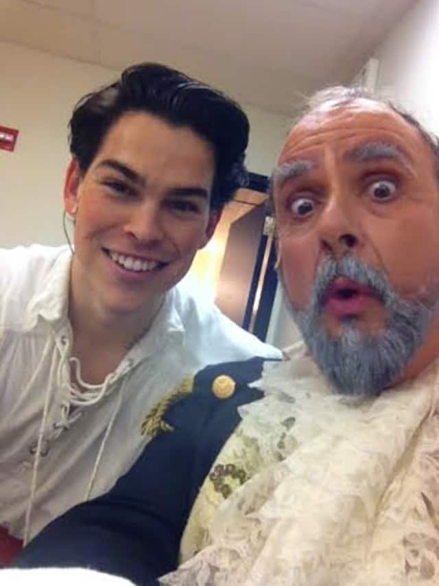 "Rodney Ingram, left, who plays ""Prince Eric"" and Philip J. Cutrone who plays ""Grimsby"" in Disney's ""The Little Mermaid"" are having a great time working together."