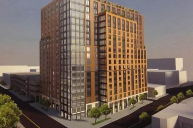 An artist's rendering of the proposed development at 42 W. Broad St.