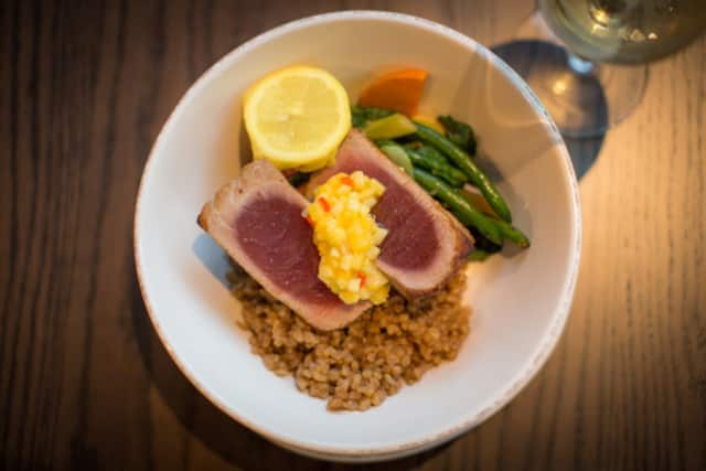 Seared Yellowfin tuna is a popular dish at The Hudson Room.