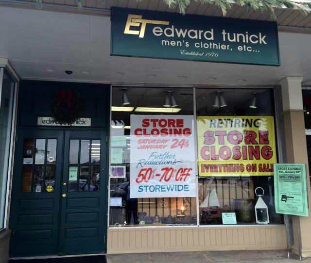 Edward Tunick – Men's Clothier will close after 38 years of business in Darien on Saturday, Jan. 24.