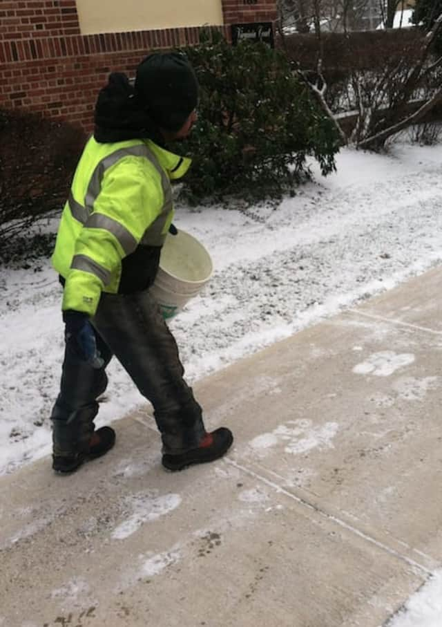 Seniors and disabled individuals in Shelton and Derby can receive a sand and salt mixture to spread on walkways and sidewalks this winter to melt ice