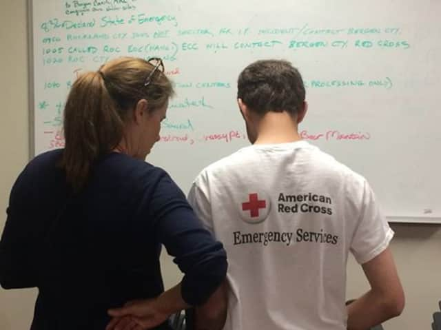 Prepping at a Red Cross facility.