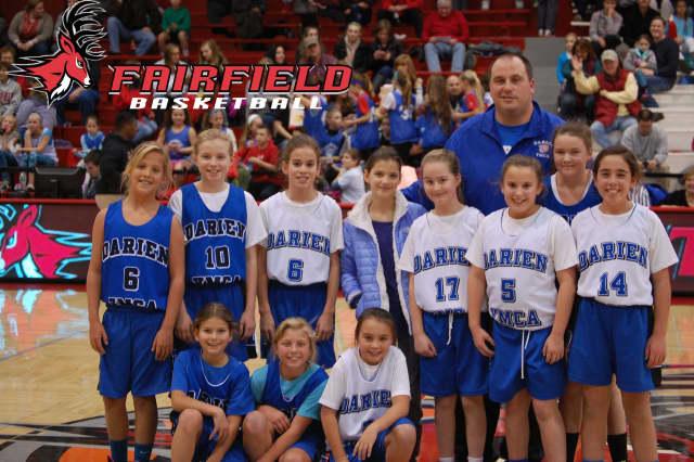 The Darien YMCA's fifth-grade girls travel basketball team.