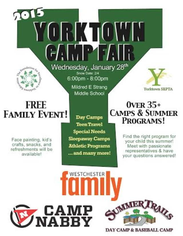 The Foundation for Excellence in Yorktown Education will host its annual Camp Fair from 6 p.m. to 8 p.m. on Thursday, Jan. 28, at Mildred E. Strang Middle School, 2701 Crompond Road.
