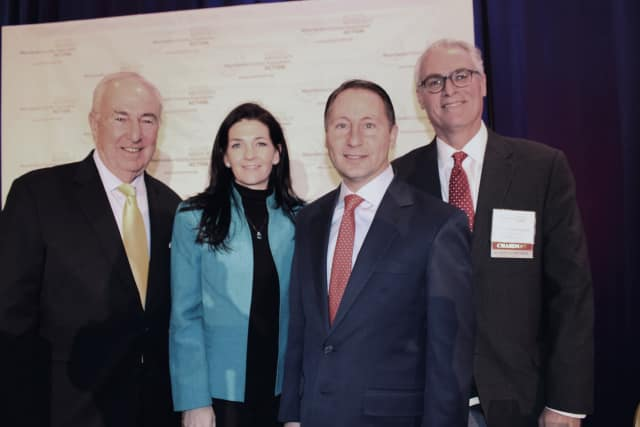 From left, William Mooney, Jr., Westchester County Association CEO; Marissa Brett, WCA president; County Executive Rob Astorino; and William Harrington, WCA chairman.