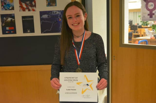 North Salem High School senior Sydni Pekula with her Student of Distinction award.