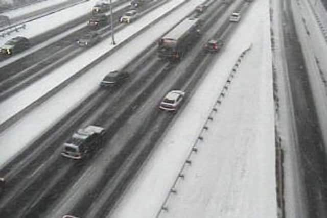 Traveling conditions were slippery Friday on Interstate 95 in Fairfield County.