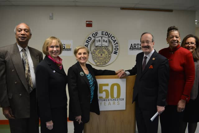 From left, State Assemblyman Gary Pretlow, United Way Westchester/Putnam CEO Alan Sweeney, ArtsWestchester CEO Janet Langsam, Us. Rep. Eliot Engel, State Sen. Ruth Hassell-Thompson and Grimes Elementary School Principal Frances Ann Lightsy.