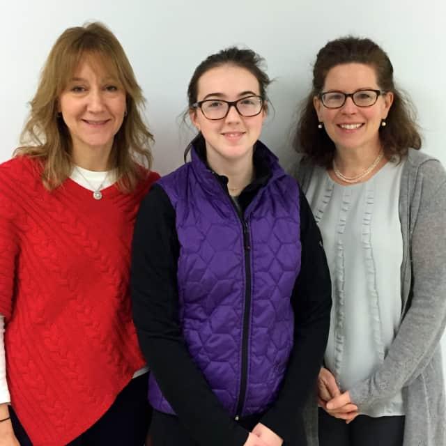 John Jay High School 2015 Intel Science Talent Search semifinalist Tess Woerner Tobin, center, with her science research teachers Jodi Riordan, left, and Anne Marie Lipinsky.