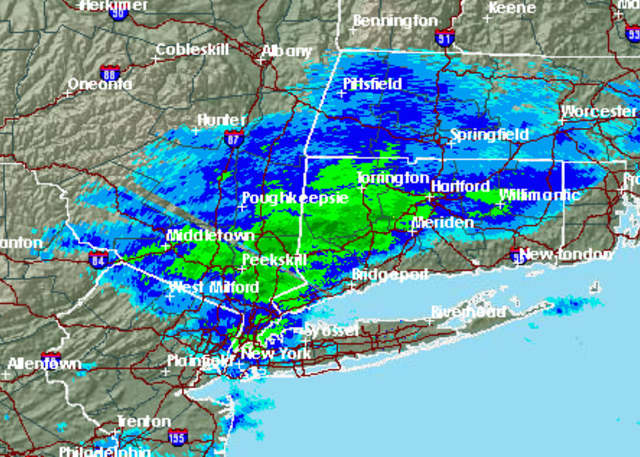 A radar image of the region just before 5 a.m. Monday.