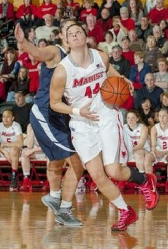 Tori Jarosz of Cortlandt Manor scored 17 points and grabbed 12 rebounds against Manhattan.