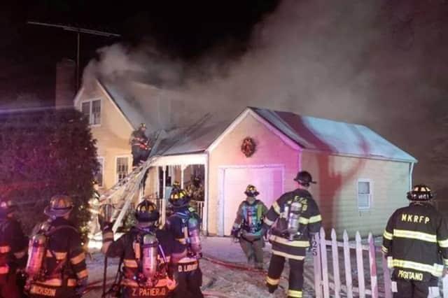 Firefighters battled a blaze on Spring Street in Mount Kisco.