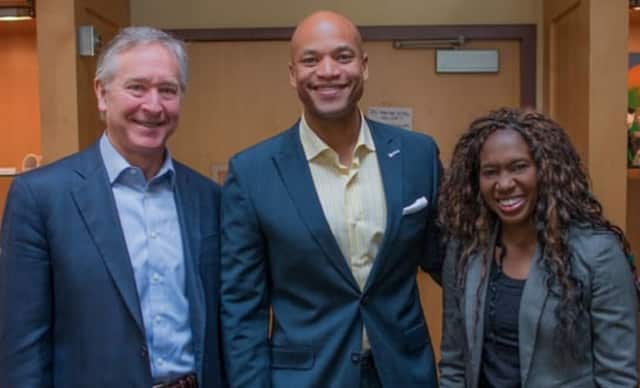 From left to right: St. Luke's Head of School Mark Davis, Wes Moore and Director of Diversity and Student Life, Dr. Stephanie Bramlett.