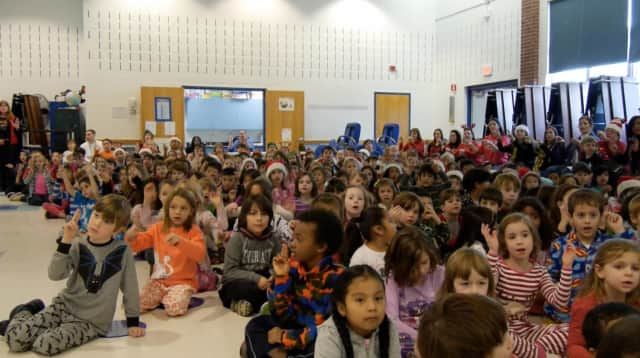 """Carrie E. Tompkins Elementary School students in Croton-Harmon learned American Sign Language for """"Jingle Bells."""""""