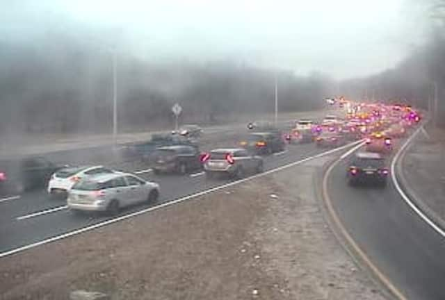 Heavy traffic on the Bronx River Parkway near the Westchester/Bronx morning Wednesday morning.