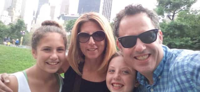 Carin Mehler, second from left, with daughters, Emily, a seventh-grader at Rye Middle School, and Rachel, a fifth-grader at Osborn, and her husband Jason, a realtor in Rye.