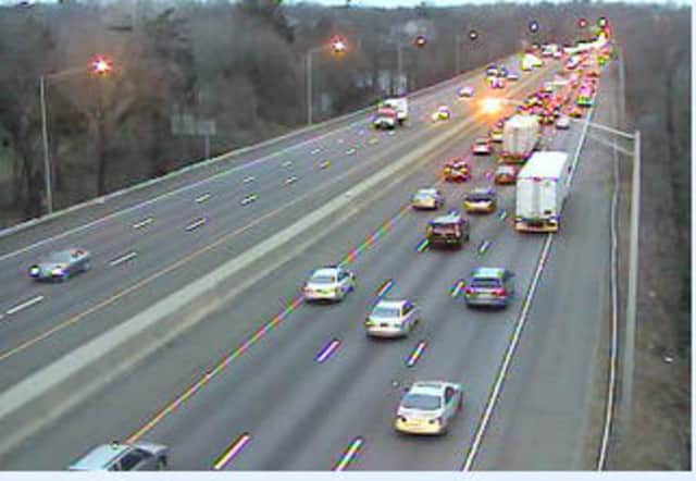 Traffic crawled along Interstate 95 South in Greenwich on Tuesday around 4:30 p.m. as the result of a one-car accident.