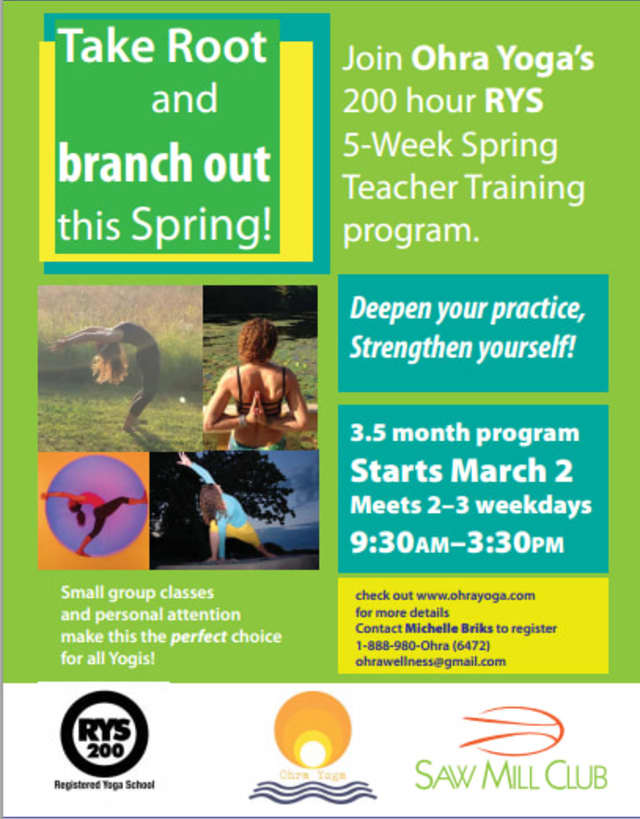 Ohra Yoga is holding a yoga teacher certification at Saw Mill Club.