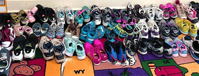 Gently used shoes in all sizes are being collected at several Bergen County libraries throughout November in a shoe drive organized by the GFWC Paskack Junior Woman's Club.