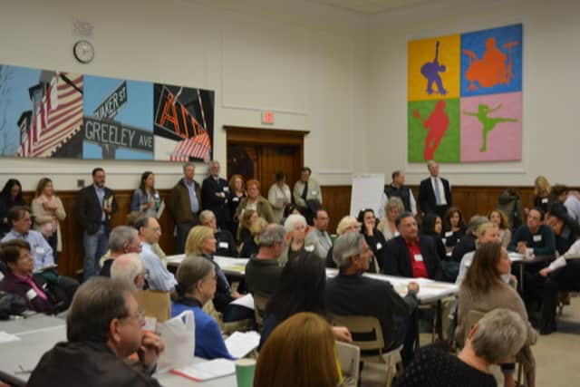 A public outreach session, held in May 2014, for New Castle's master plan updating process.