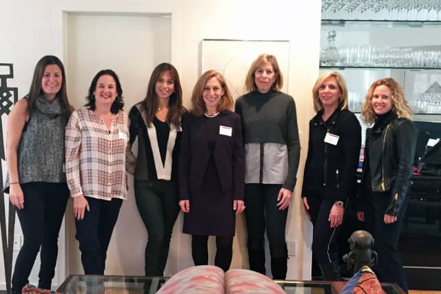 Rabbi Lori Koffman, center, with, from left, Rickie Broff of Scarsdale, Amy Tanenbaum of Harrison, Allison Spitalny of Scarsdale, Amy Tenney Levere of Larchmont, Nancy Kanterman of Mamaroneck and Susie Schnall of Purchase