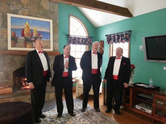 Last year's quartets sings at a private home in Ridgefield; Art Cilley is on the far left.