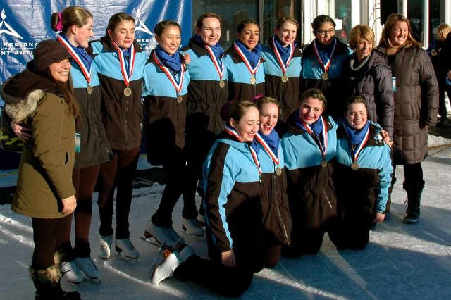 The Shadows of the Southern Connecticut Synchronized Skating team won a bronze medal in the Open Juvenile competition at the Eastern Championships last weekend. The team is based in Stamford. See story for IDs.