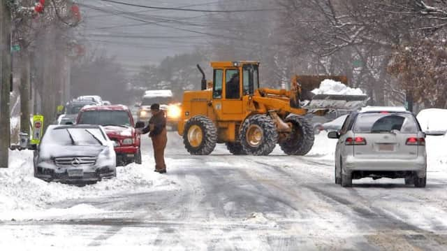 Irvington's DPW clearing some of the snow.