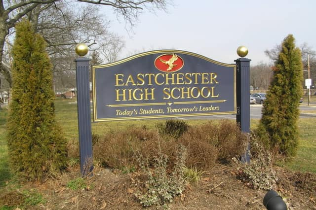 This sign will be hardly visible on Tuesday after the impending snowstorm hits. So Eastchester school officials are cancelling classes that day.