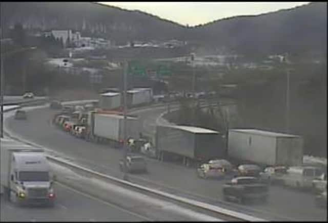 Traffic is jammed at Exit 4 on westbound I-84 in Danbury.